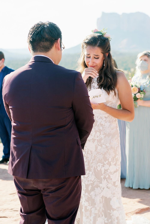 emotional bride reads wedding vows sedona arizona