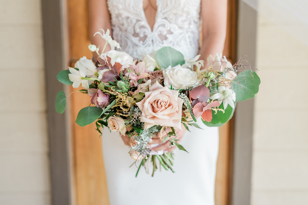 dusty pink bridal bouquet Serendipity Garden Wedding Photography, Oak Glen Ca