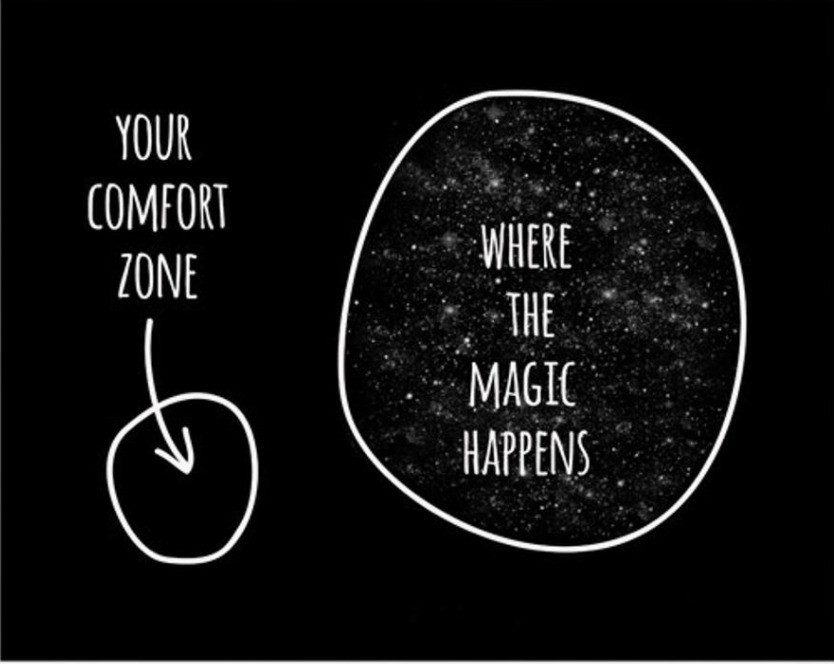 """Two separate circles. Small one says """"Your comfort zone"""" Large one says, """"Where the magic happens"""""""