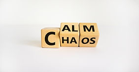 Stop chaos, time to calm. The words 'cha