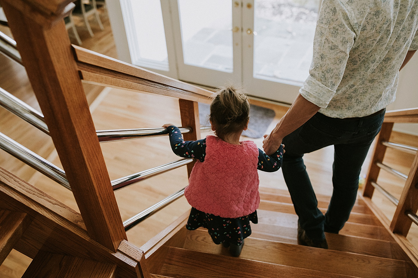 Toddler walking down the stairs