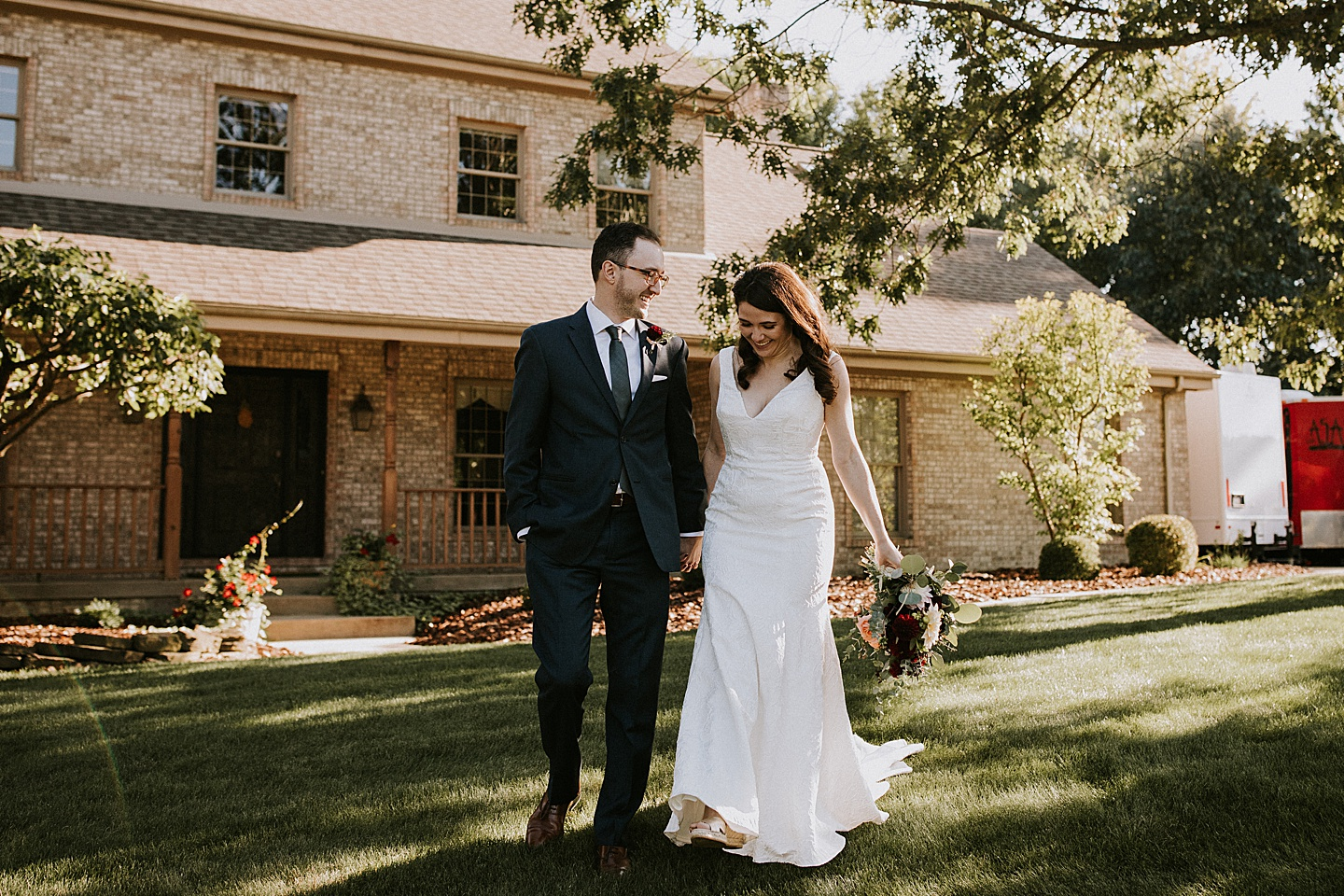 Bride and groom portraits at home