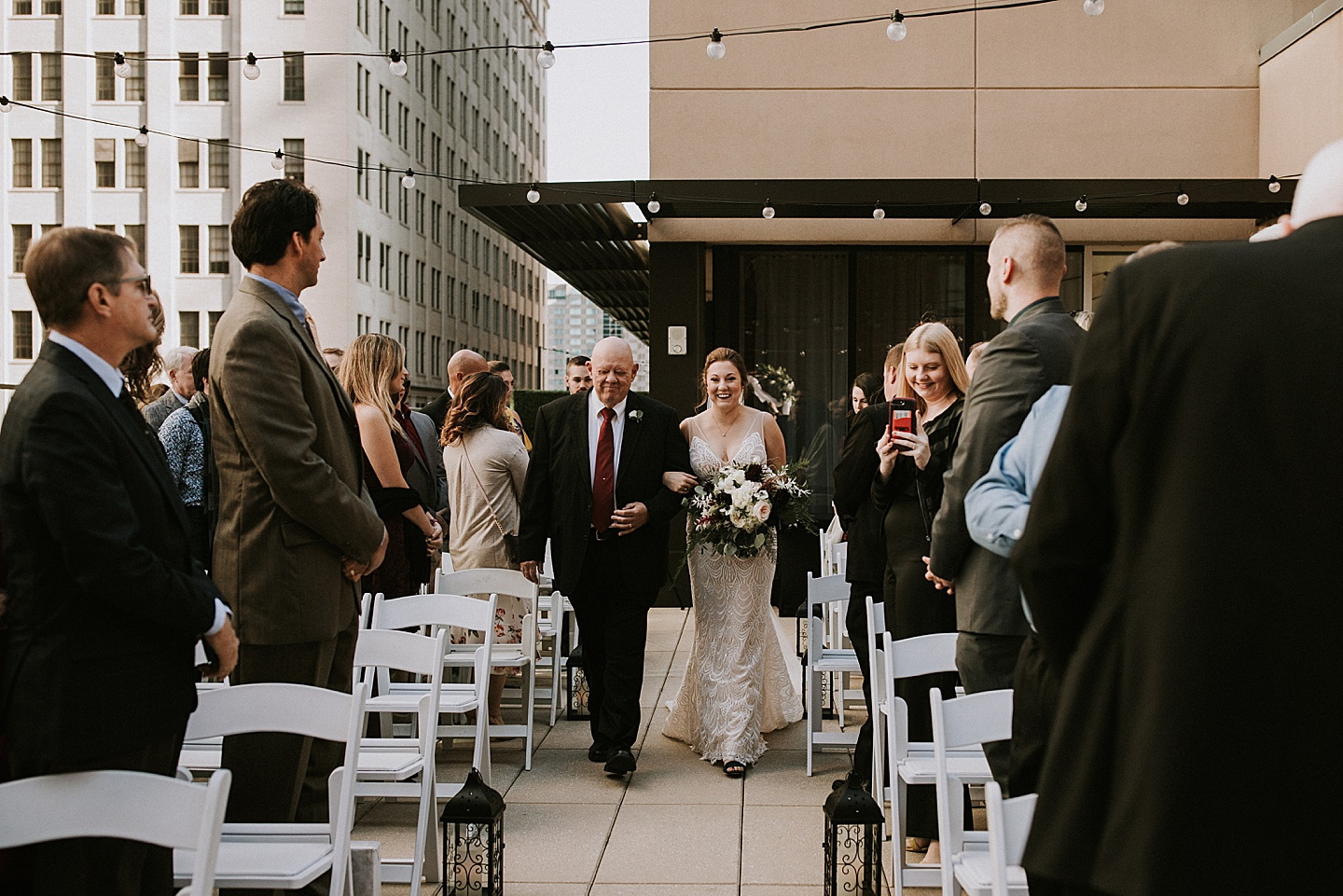 Wedding ceremony on Pittsburgh rooftop
