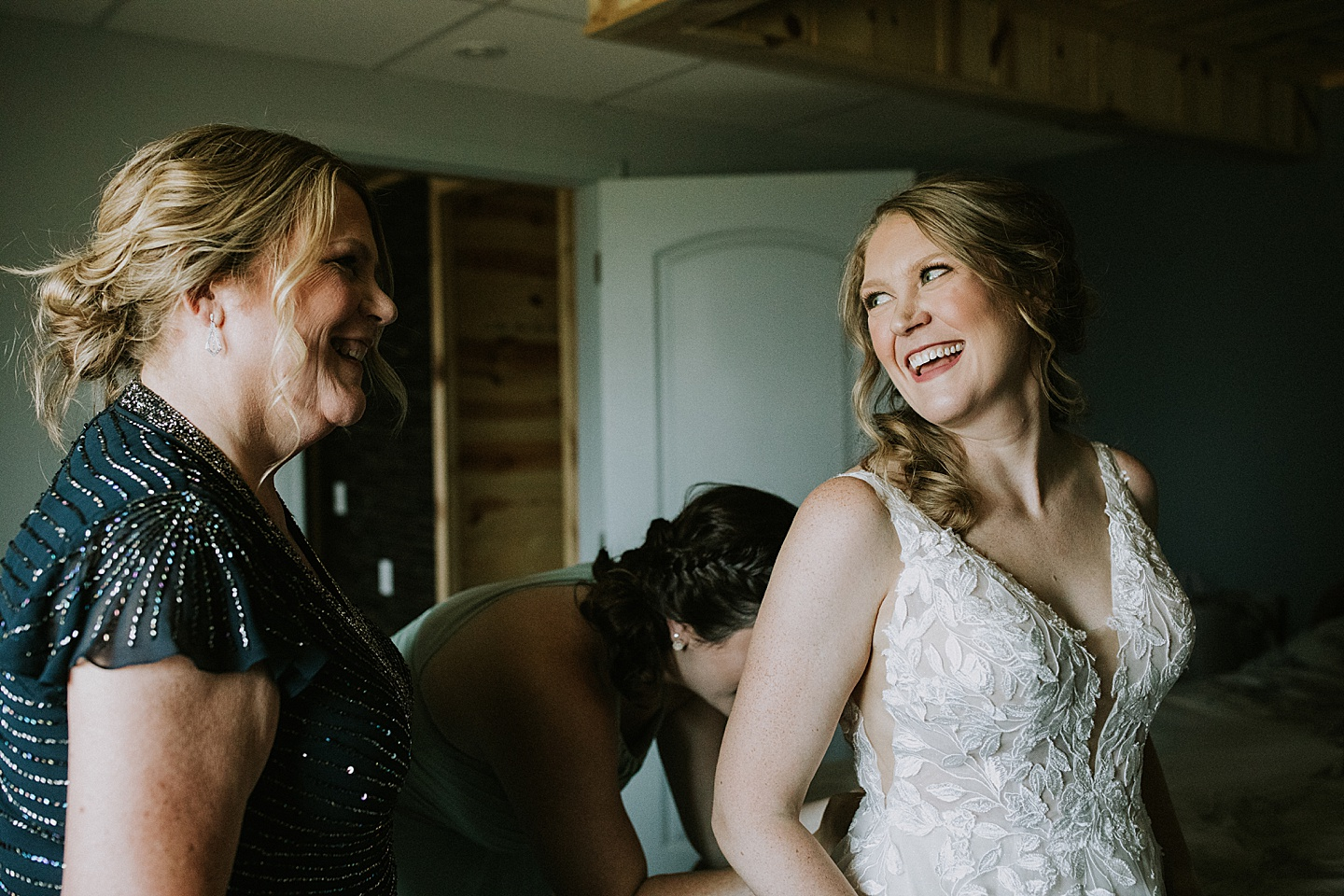 Bride smiling at her mom