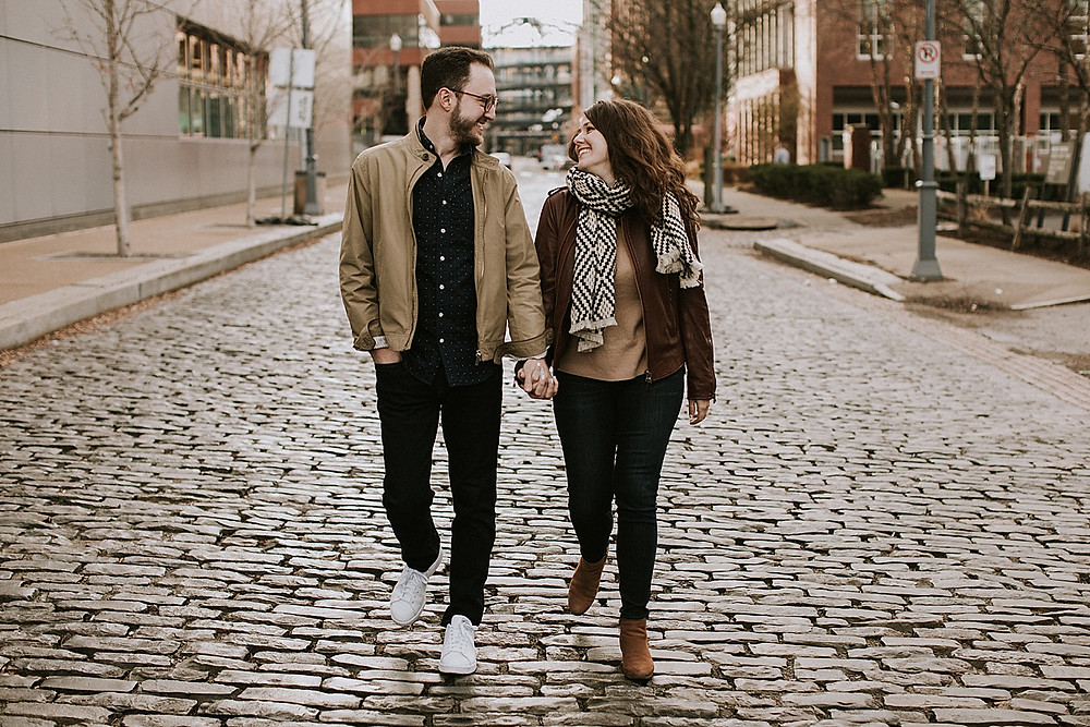 Couple walking down street in Pittsburgh