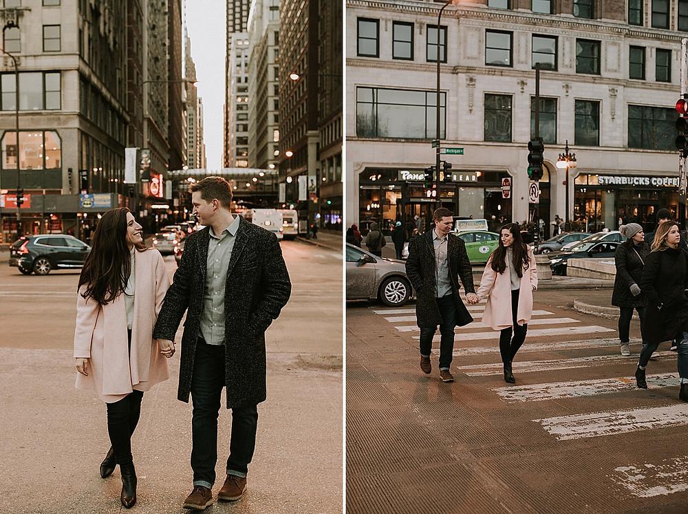 Couple walking across the street in downtown
