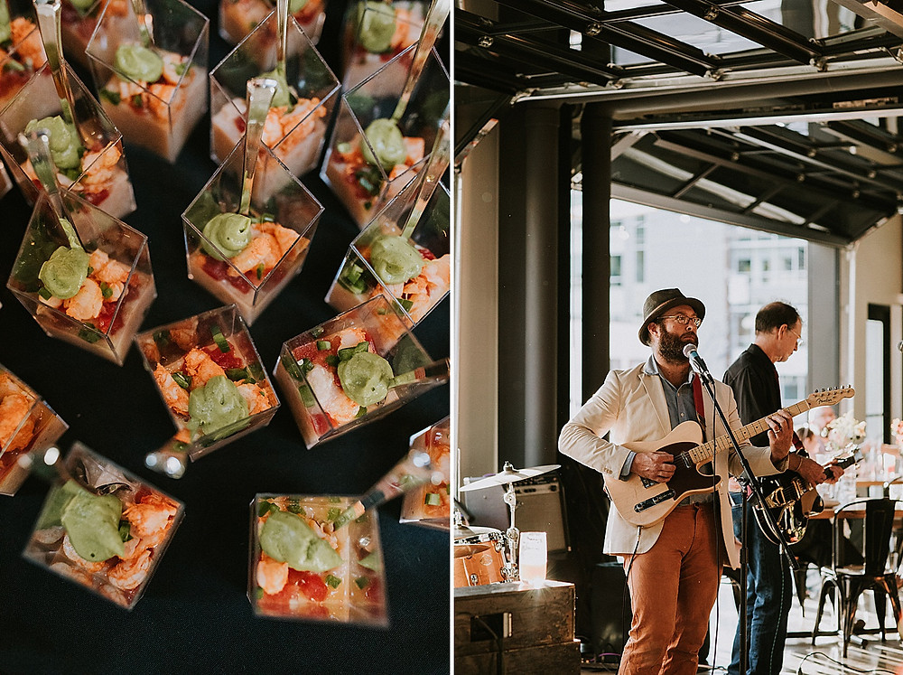 Food and band at cocktail hour