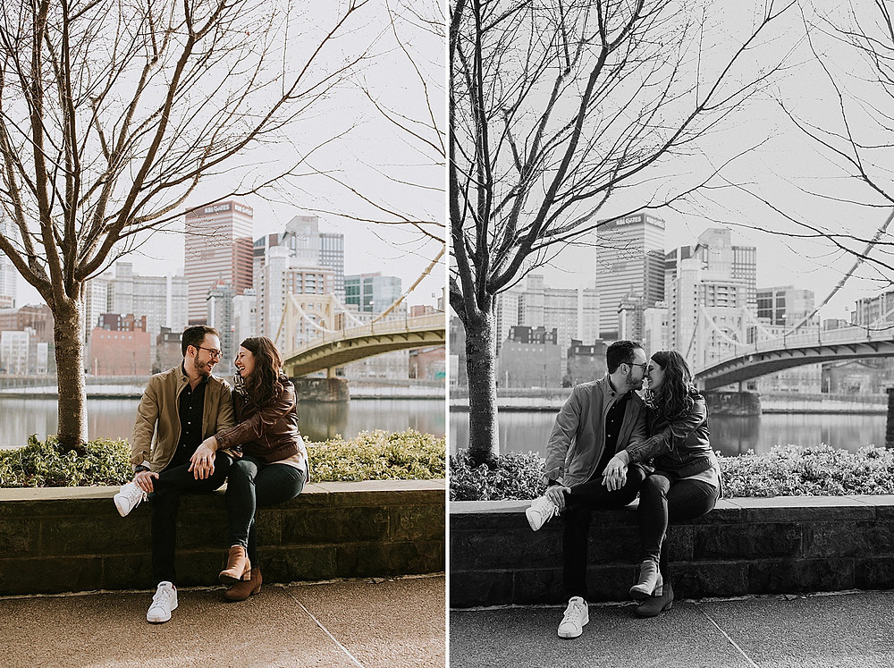 Couple sitting with Pittsburgh skyline in the background