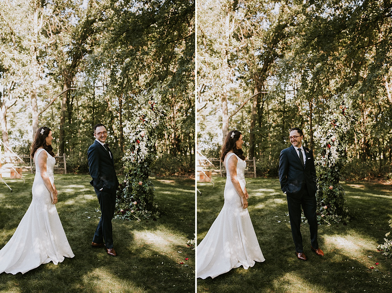 First look at Pittsburgh backyard wedding