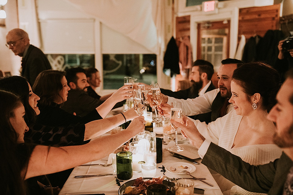 Wedding reception toasting