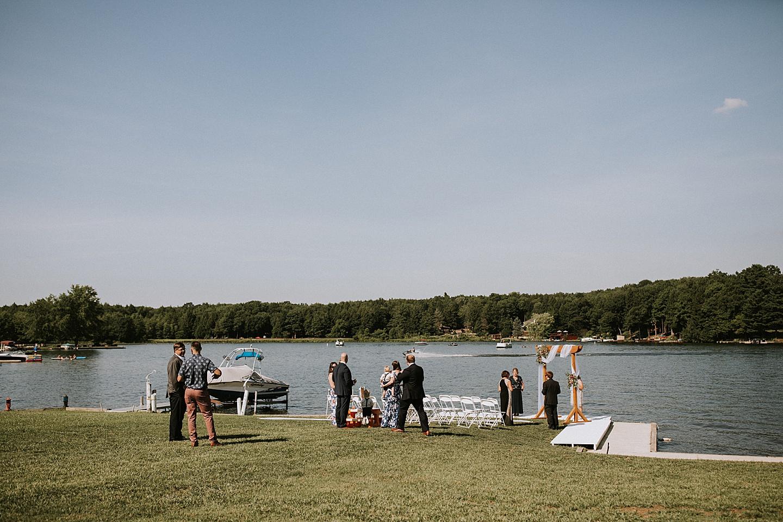 Guests gathering before wedding at Indian Lake