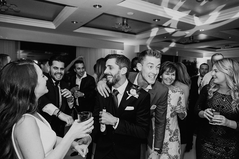 Couple celebrates wedding at reception