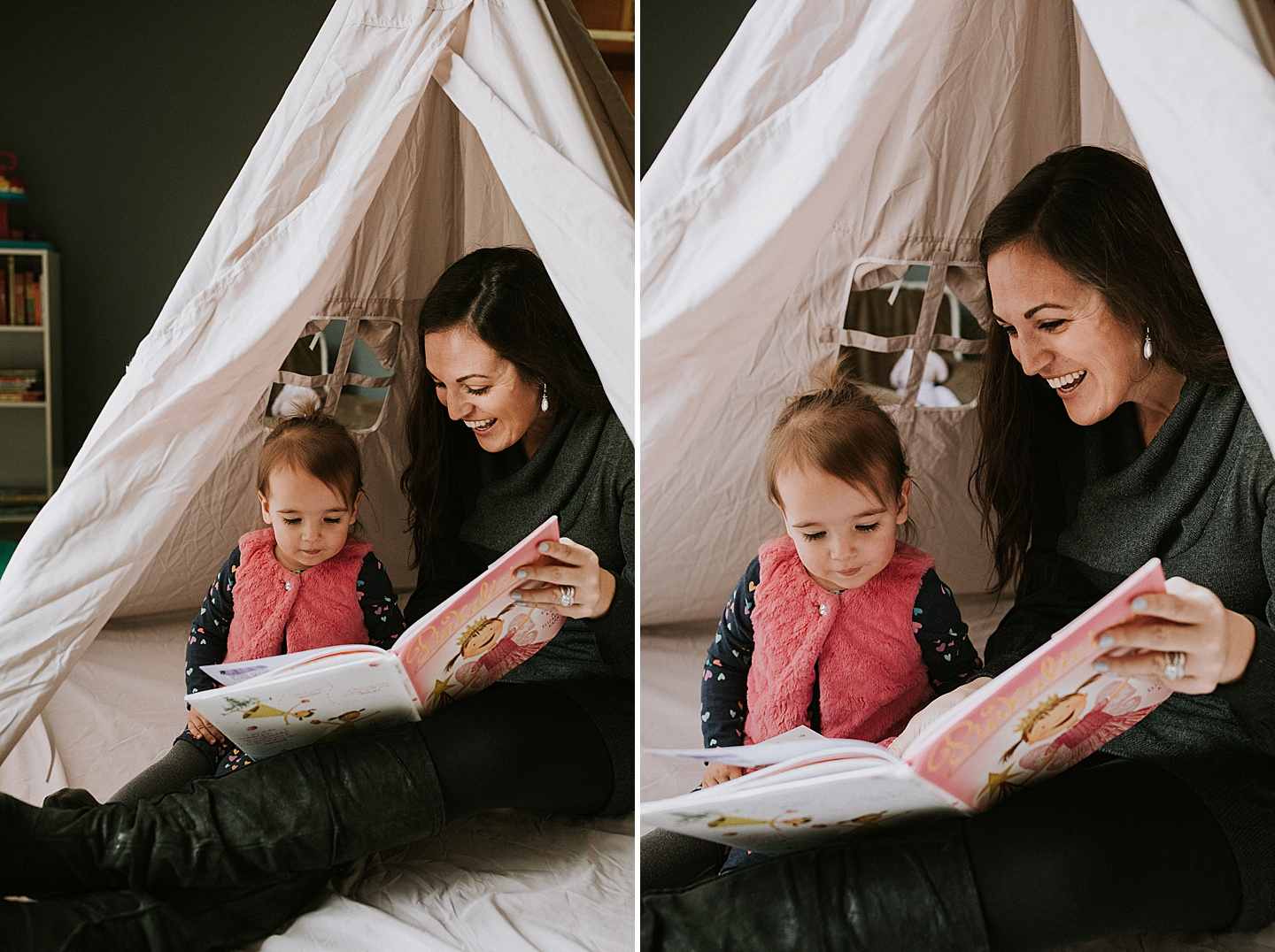 Mom reading to toddler in tent