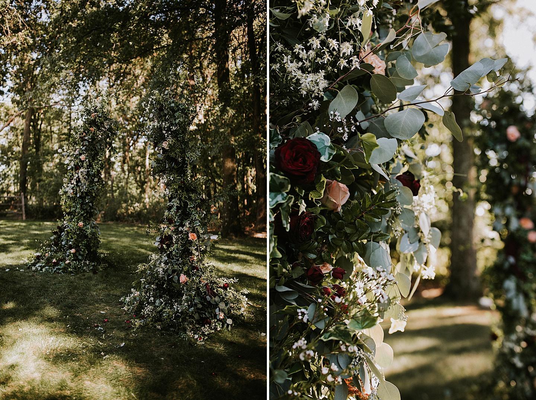 Flower arch at wedding ceremony