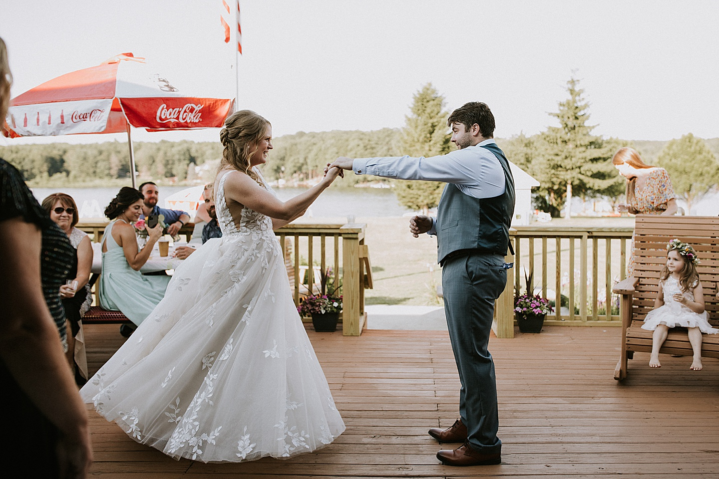 Bride and groom first dance at backyard wedding in Pittsburgh