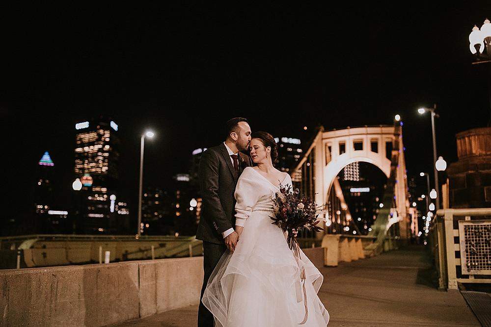 Pittsburgh wedding photos Roberto Clemente Bridge