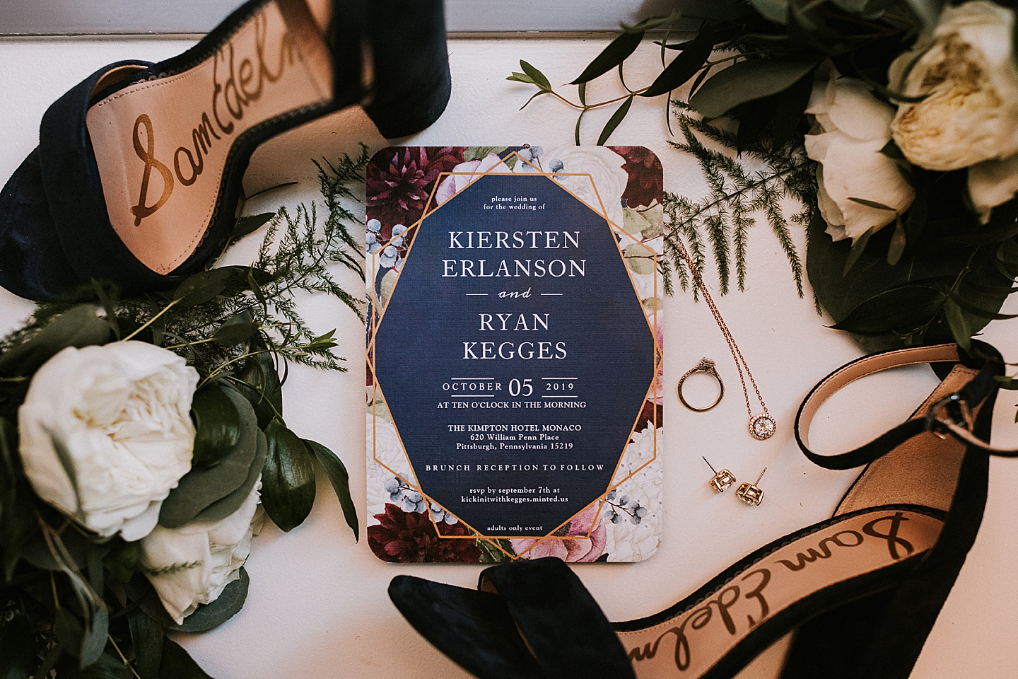 Wedding invitation styling for photos
