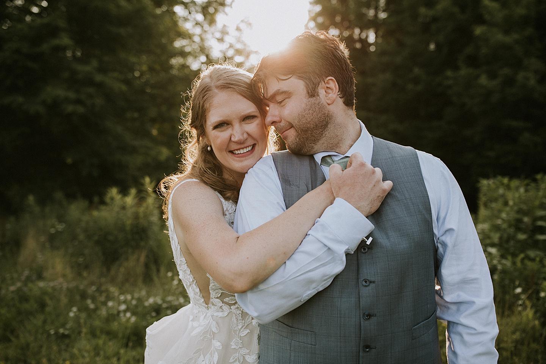 Backyard portrait of bride and groom in Pittsburgh
