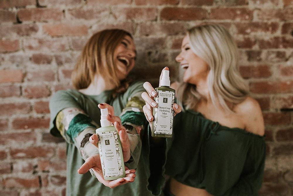Women laughing during branding photos