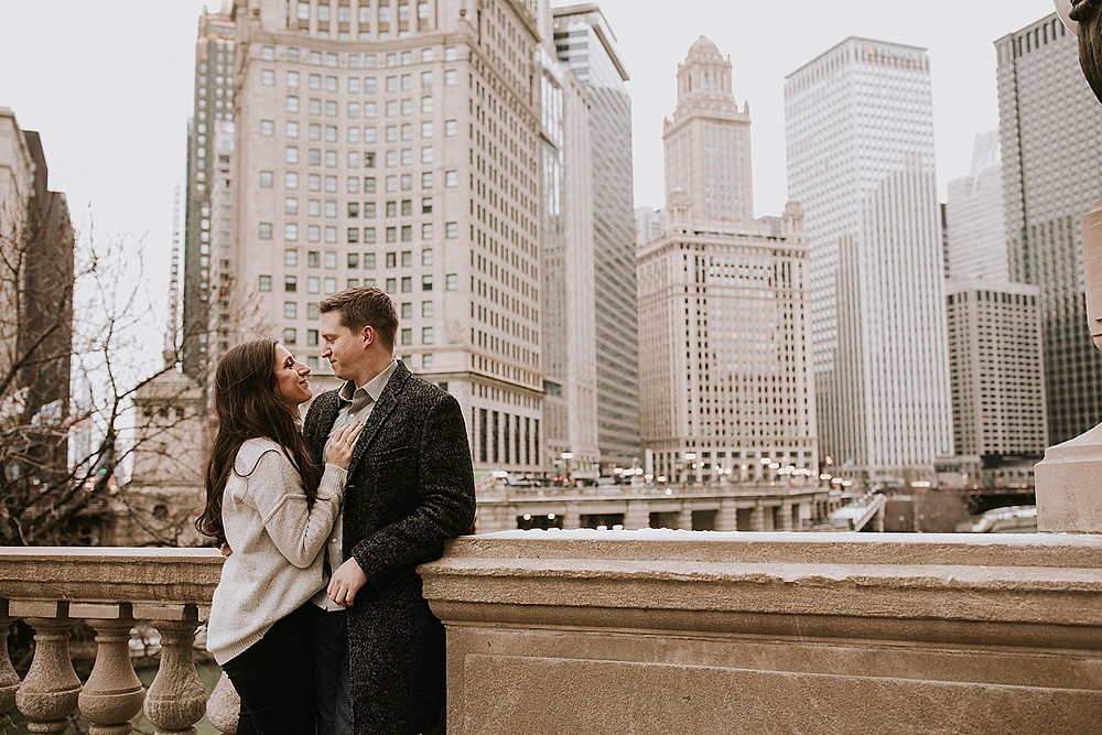 Chicago February engagement session with skyline