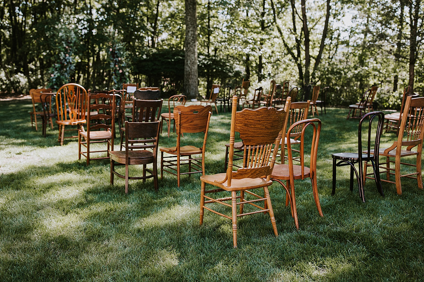 Antique chairs at wedding ceremony