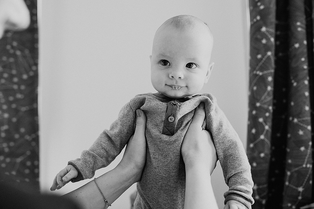 black and white baby photograph