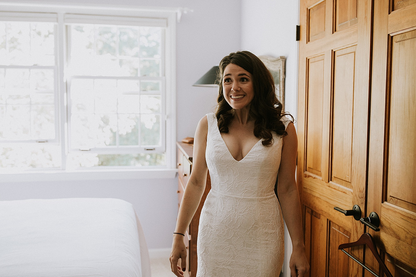 Bride getting excited before wedding