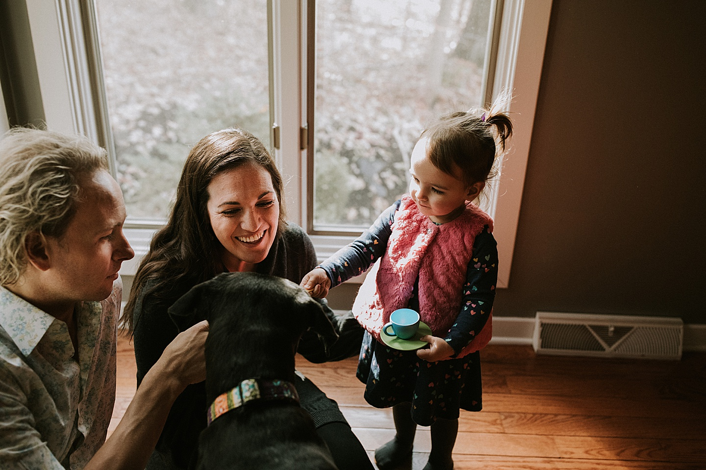 Family together with dog