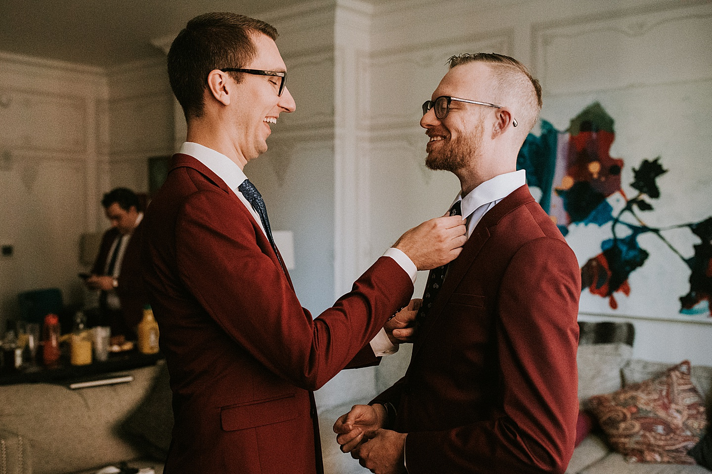Maroon suit for wedding