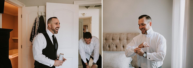 Groomsmen before wedding hotel pictures