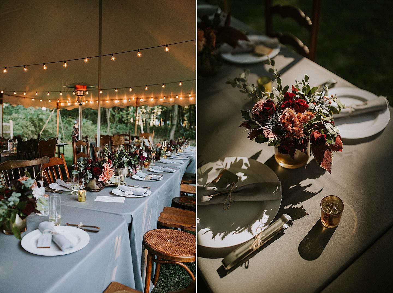 Table settings at backyard wedding