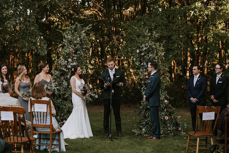 Backyard wedding ceremony in PIttsburgh