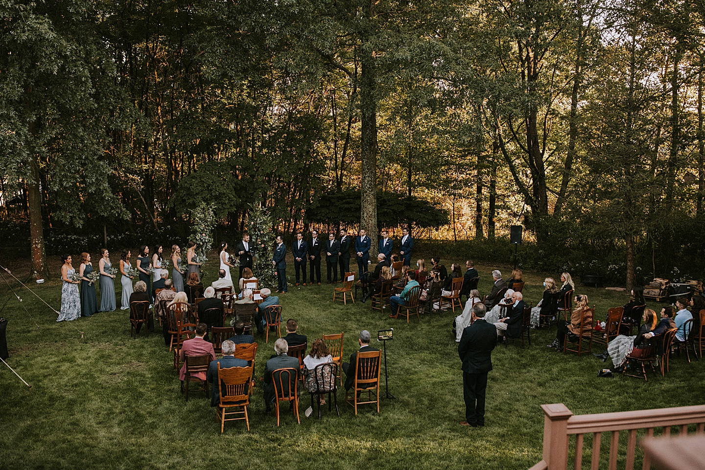 Backyard wedding ceremony layout