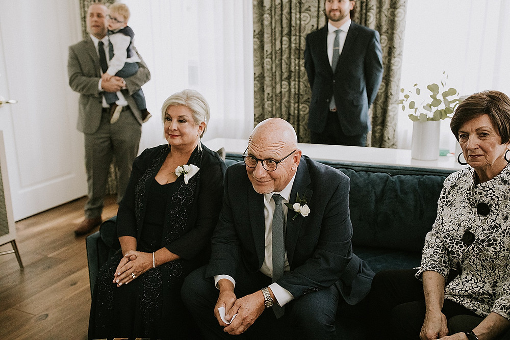 Family smiling during Pittsburgh wedding