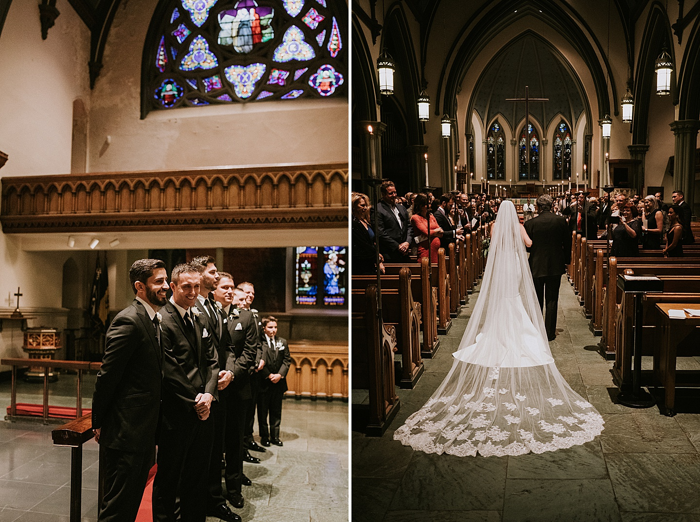 Bride walking down the aisle with long veil