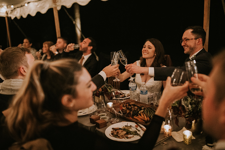 Toasting at a wedding reception
