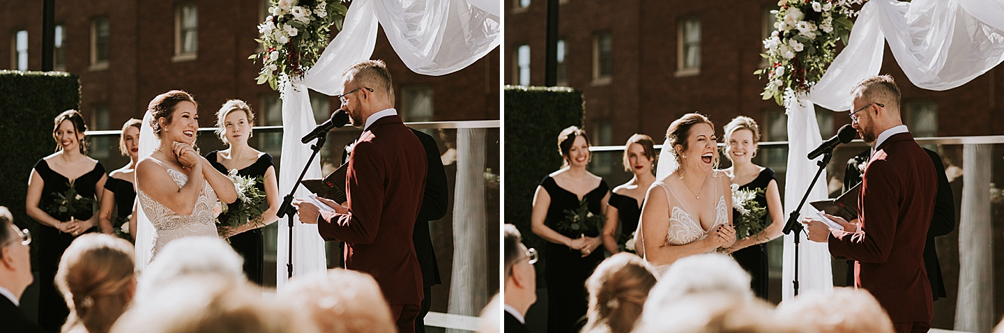 Couple laughing during wedding vows