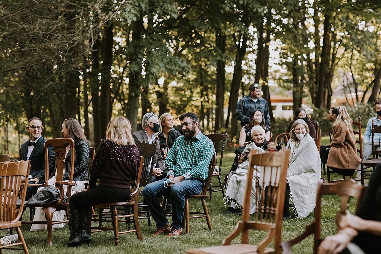 Wedding guests at backyard wedding