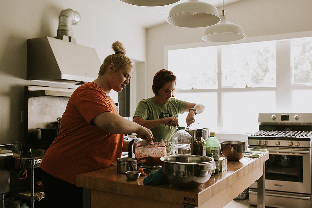Women cooking in a kitchen