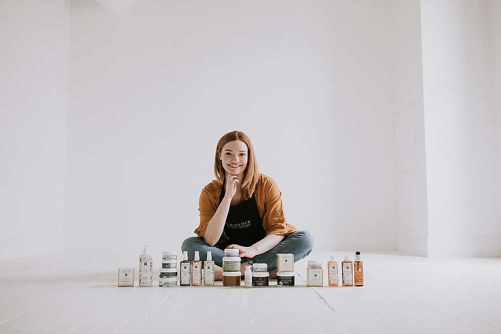 Brand portrait photography with skin care products