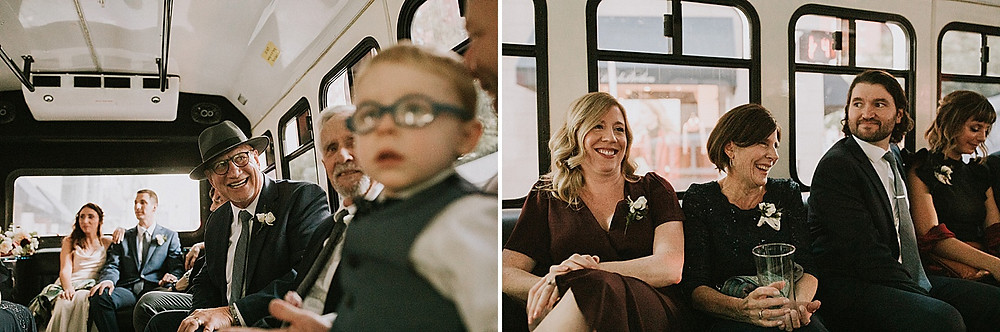 Family riding in bus after wedding
