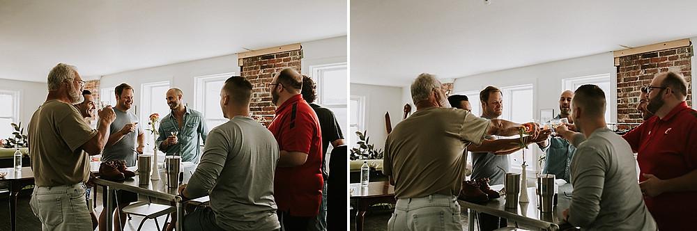 Men toasting before wedding