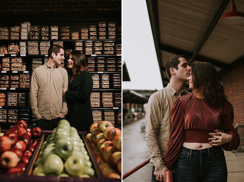 Couple portraits in market