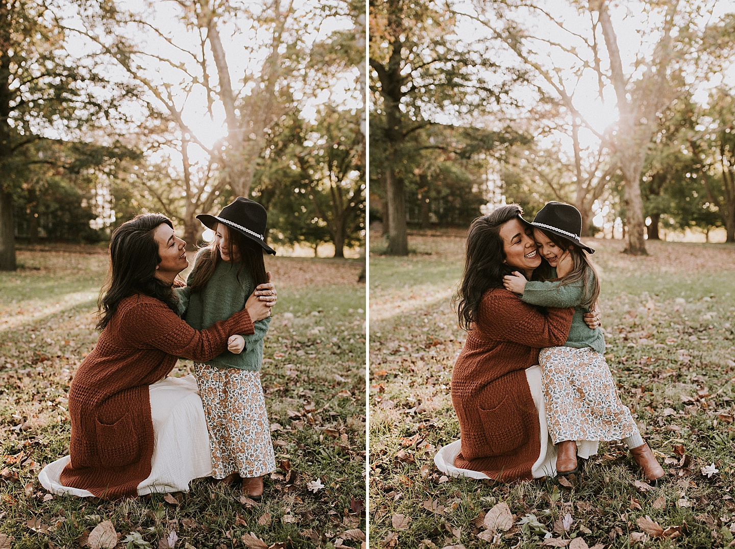 Mom hugging daughter during fall portraits
