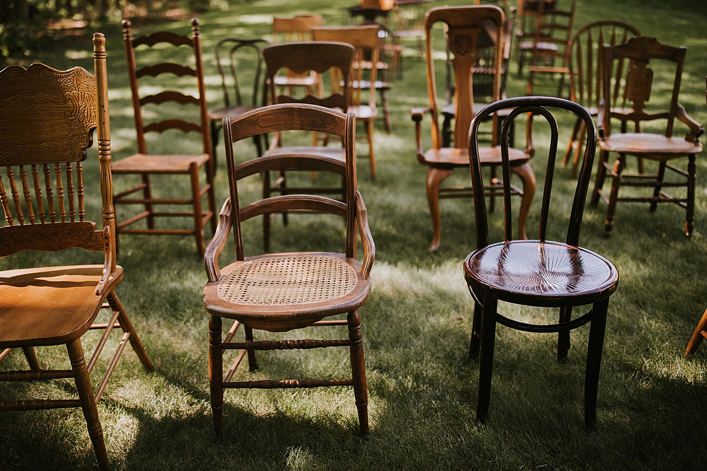 Antique chairs for use in wedding ceremony