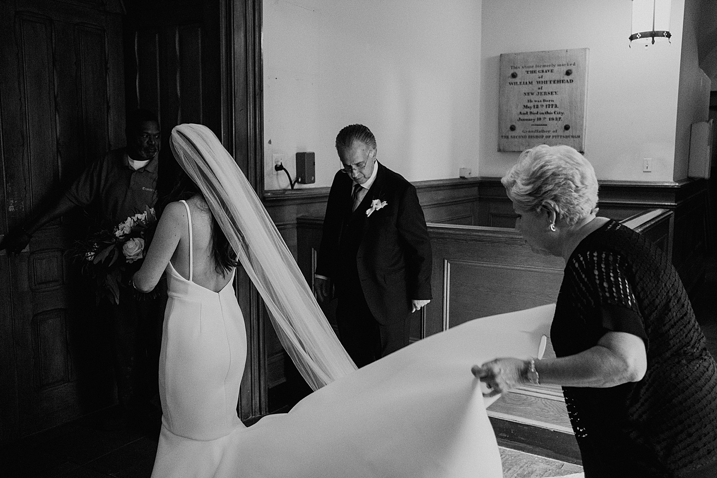 Bride about to walk down the aisle in church wedding