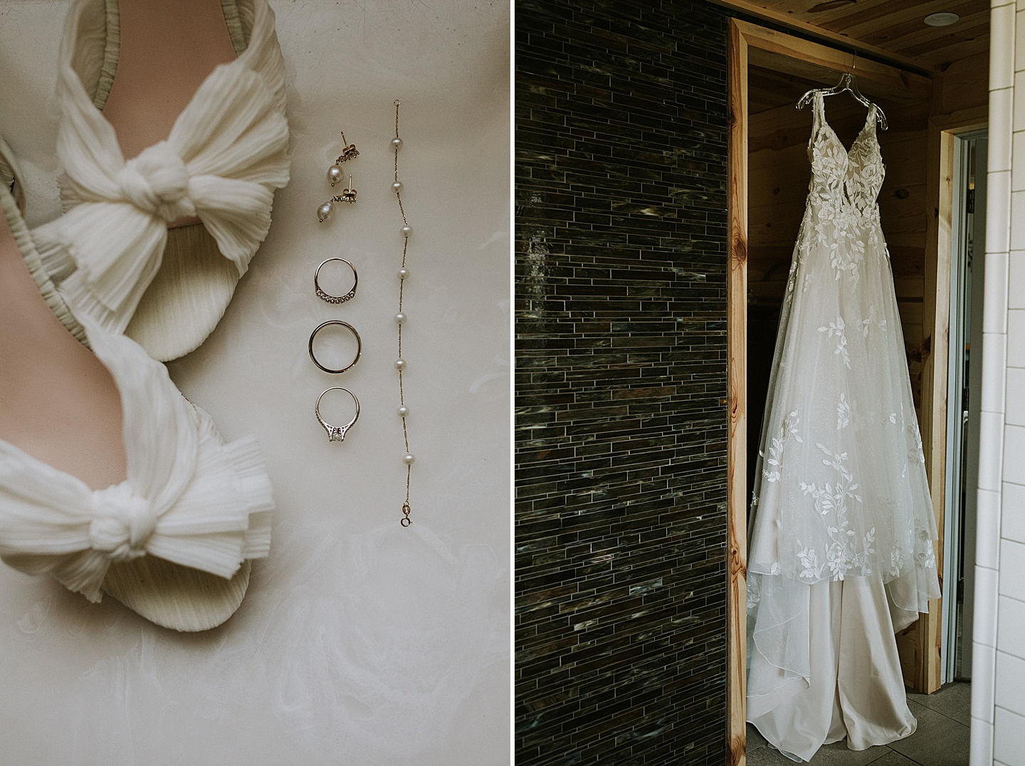 Dress and shoe details at wedding