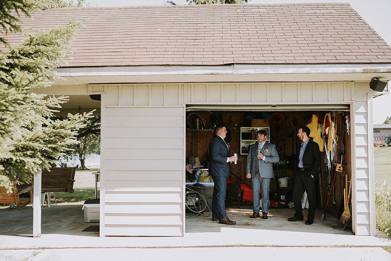 Groomsmen hanging out in garage