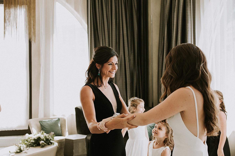 Bridesmaids with bride before wedding