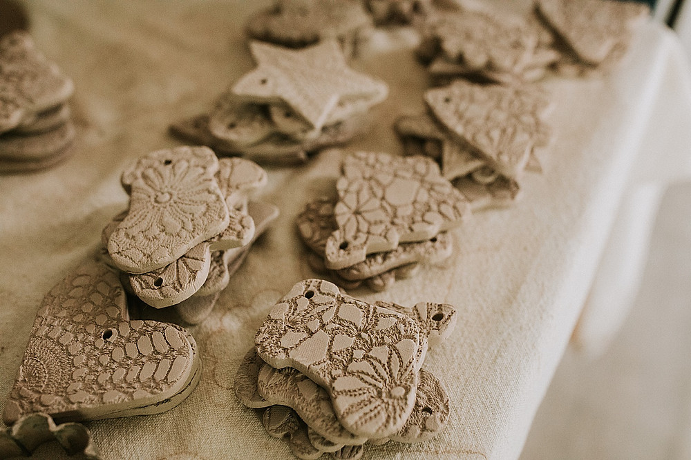 Clay lace ornaments